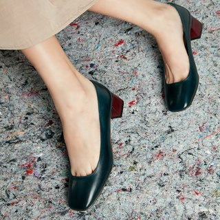 H THREE classic square heel shoes / malachite green / green / rough with / retro