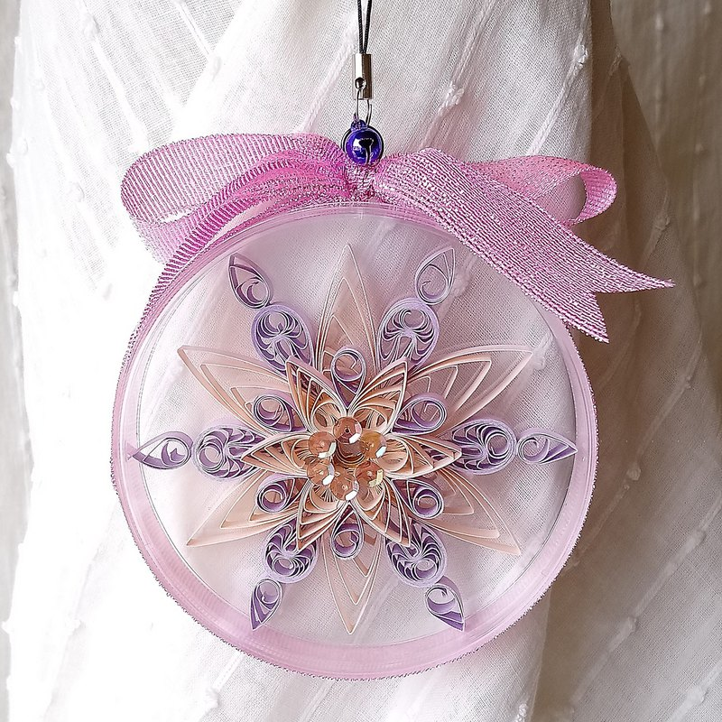 Christmas powder orange-purple two-color snowflake scroll round box charm