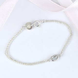Tiny Love Knot Bracelet / Heart Knot / Sterling Silver