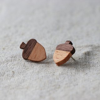 Kawagoe forest acorn wood earrings hand-made limited edition