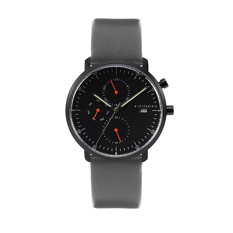 Minimal Watches : MONOCHROME CLASSIC - Limited edition/Leather  (Gray)