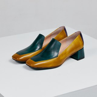 H THREE Carrefour heels / moss green / rough with / retro