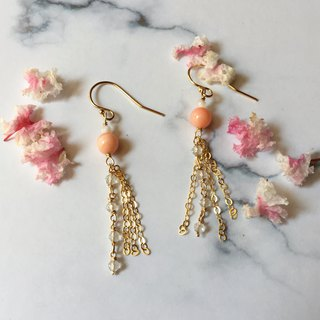 Handmade earrings, sea peach, fairy peach