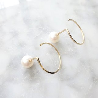 14 kgf * Freshwater pearl CIRCLE pierced earring