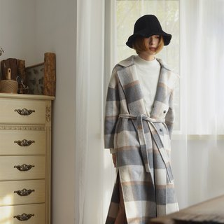 Open plaid double-faced wool coat | coat | autumn and winter models | wool | independent brand | Sora-211
