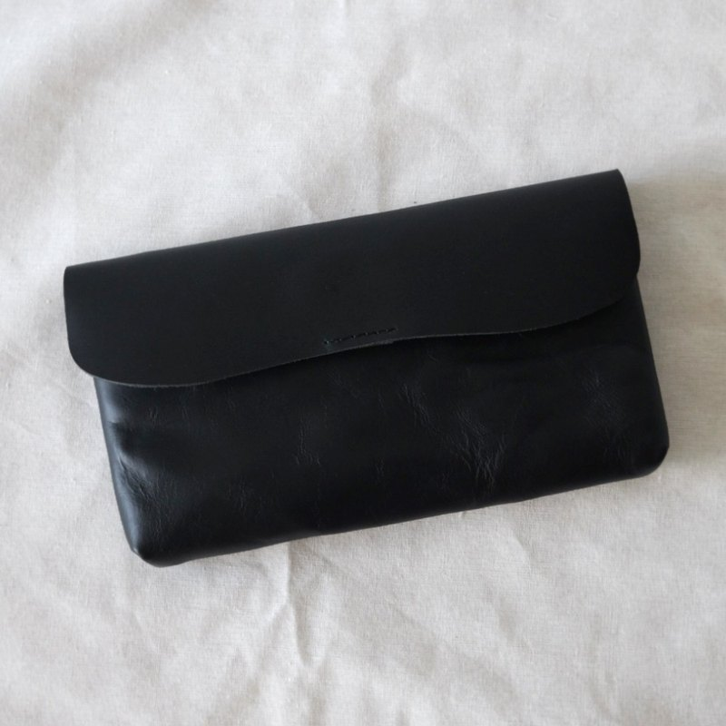 Wrinkle Black Leather Long Wallet / Retro Leather Coin Clutch Purse