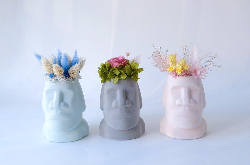 【摩艾巨人】 灰色/藍色/粉色/不凋花/永生花/乾燥花/盆栽