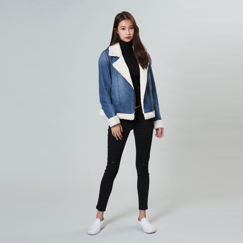 Indigo Sherpa Denim Biker Jacket