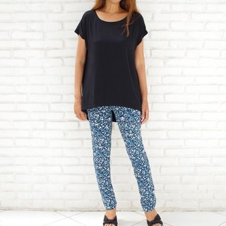 Superb comfort! Print pedicel Skinny Straight Stretch Long Pants <Blue>