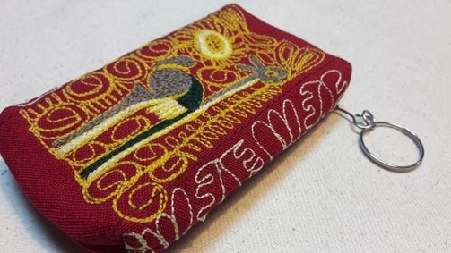 Hand-embroidered hummingbird box purse - red
