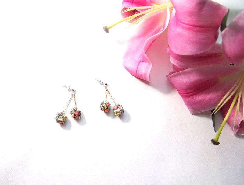 E051 cute custom hand woven copper with silver candy pink pearl earrings