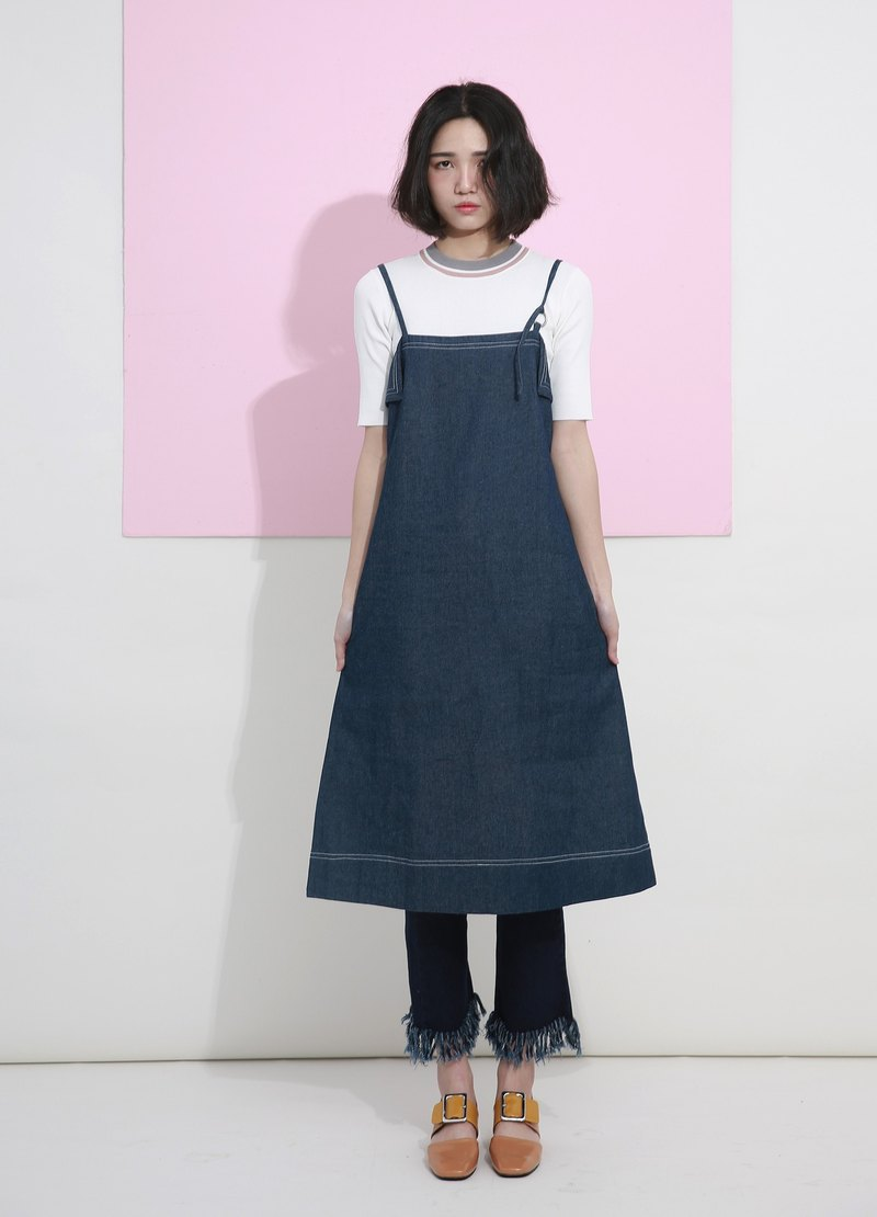 Drain wood day komorebi original design sling denim dress with spaghetti straps waist was thin denim dress summer cool dresses