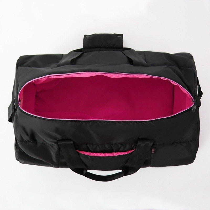 圓筒背包.黑╳桃紅