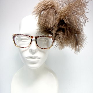 TIMBEE LO Brown Leopard Frame ostrich hair glasses custom made optional other frame color
