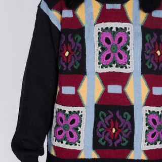 Vintage with sweater / black three-dimensional woven flower twist dark-patterned pullover