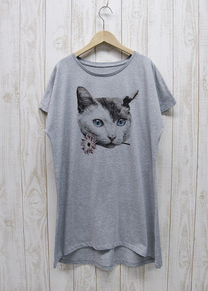 ronronCAT one-piece dress Tee Here you go Heather gray / R028-O-GR