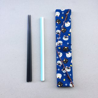 adoubao-Chopsticks Set Cutlery Bag - Blue & Lucky Black and White Cat
