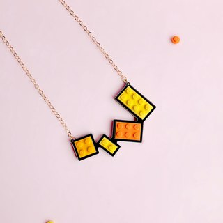 Classic  Orange yellow LEGO Necklace