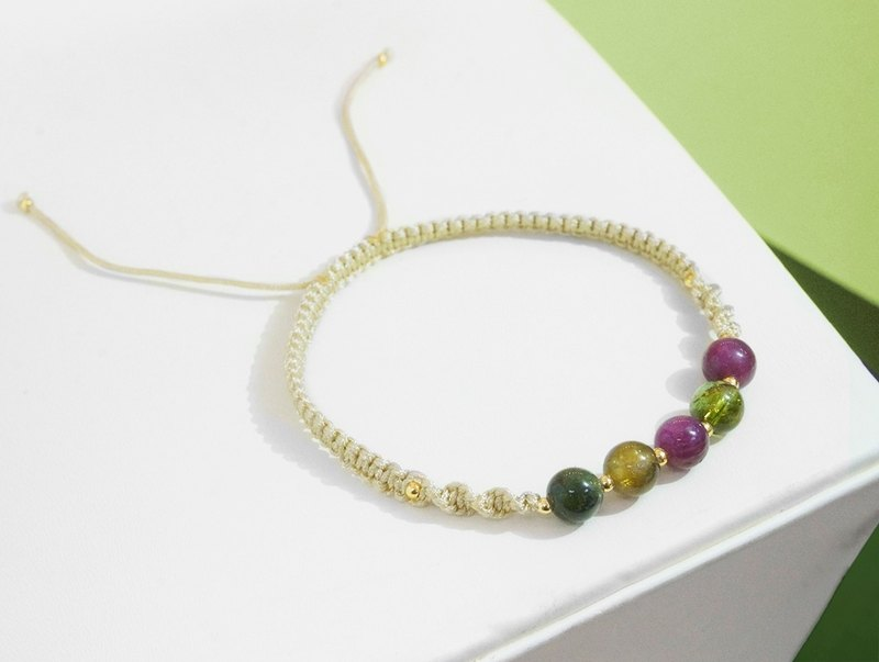 Edith & Jaz • Tourmaline with Champagne Cord Bracelet