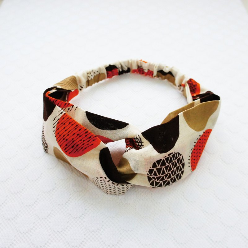 Lovely [Japanese cloth] geometric dot butterfly elastic hair band, hair ring, coffee orange E