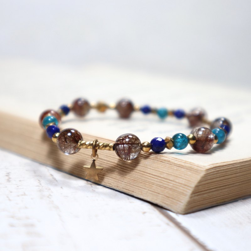Small diameter brass bracelet copper titanium crystal / lapis lazuli / blue phosphor ash brass