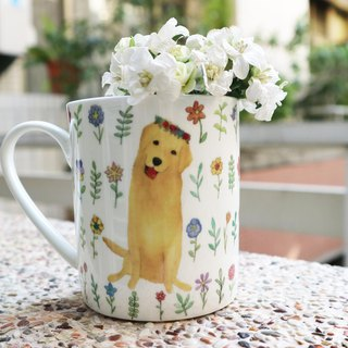 Bone china mug - stay in the gold (for customization can add custom name) / watercolor / golden retriever / dog year / floret / microwave / through the SGS