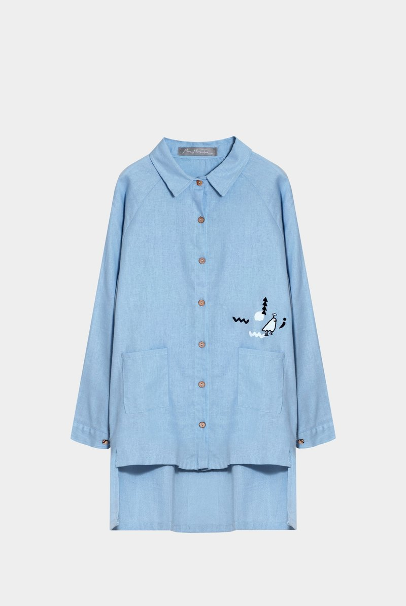 [Last] a hide and seek Boy / short in front long blue cotton shirt color