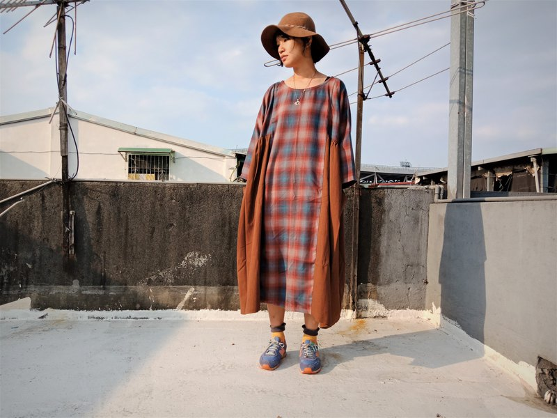 Vintage Check cotton wool dress _ coffee orange