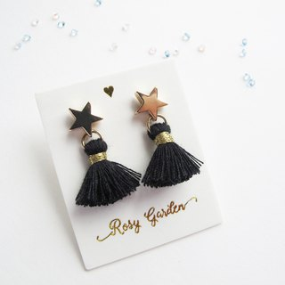 Rosy Garden black color  tassel with little star earrings