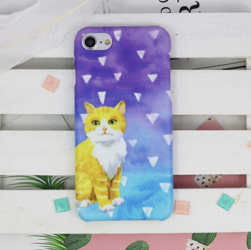 Watercolor Cat with confetti Matt finishes rigid hard Phone Case Cover for iPhone X 8 8+ 7 7 Plus Samsung Galaxy S6 S7 edge S8 S8 plus + Note  5 8  LG G5 G6 V20 Sony Z5 premium Oppo Zenfone Xiaomi Redmi HTGNP118