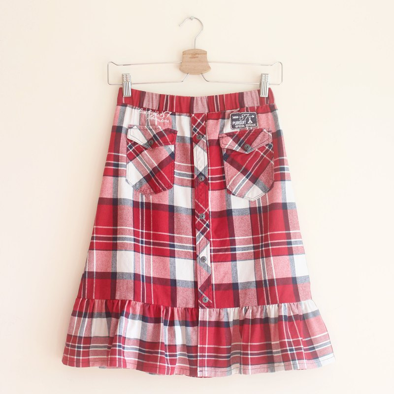 Upcycled fashion checked red skirt
