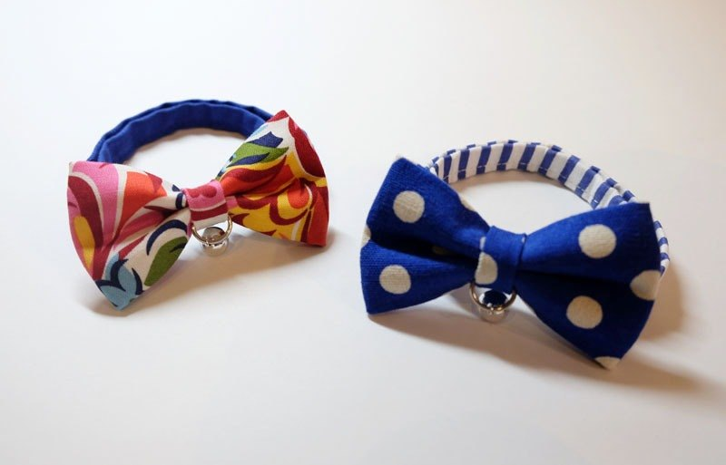 Miya ko.] Handmade cloth grocery cats and dogs tie / tweeted / bow / Shuiyu little can take / retro / pet collars ((((I want to bring together two))))