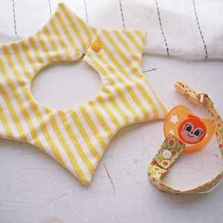 Hairmo. yellow striped handmade baby bib / saliva towel - star version