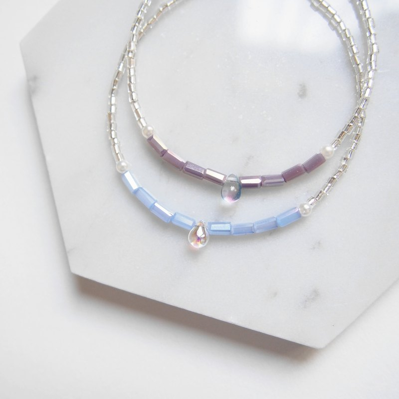 Goody Bag Fu Bag Set ・Water Droplet Glass • Light Blue Light Purple • Imitation Pearl Bracelet