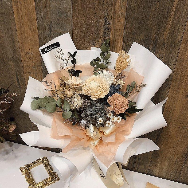 【遇見恆久】中型紅粉三用乾燥捧花花束 拆開包裝變捧花 共五款