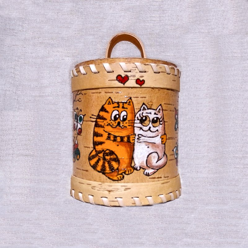 Cute storage box with hand painted cats