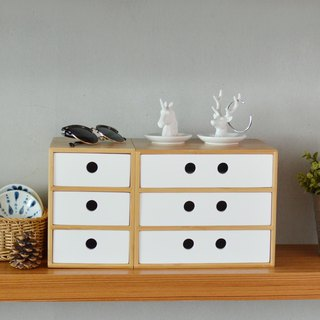 Three-tier storage wooden drawer box