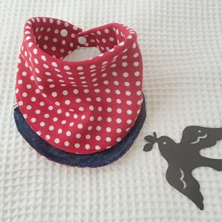 Baby Bib Reversible Handkerchief  Bandana Bib, Japanese Cotton, Red Polka Dots