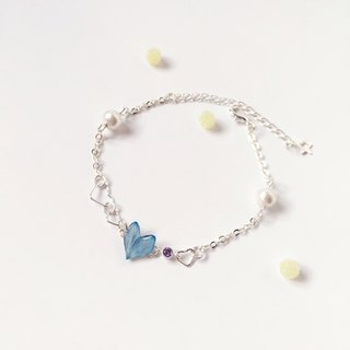 * Haku‧Neko * Romantic Sweetheart Mini Heart Blue Hydrangea Cotton bead Bracelet (three-dimensional real flower series)