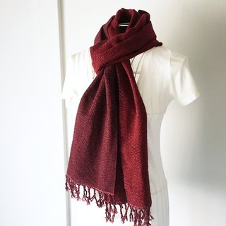 "Unisex hand-woven scarf ""Wine red with White dots Vol. 3"""