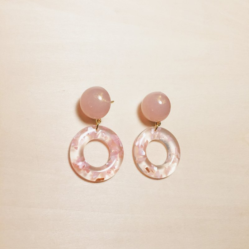Vintage Pink Glitter Balls Shell Hoop Earrings