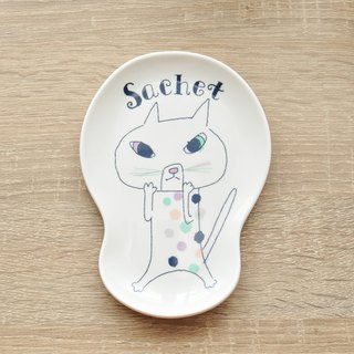 [Kato Masaharu] Bonne nuit Goodnight Series Dessert Plate / Styling Dish | Sachet Dot Cat