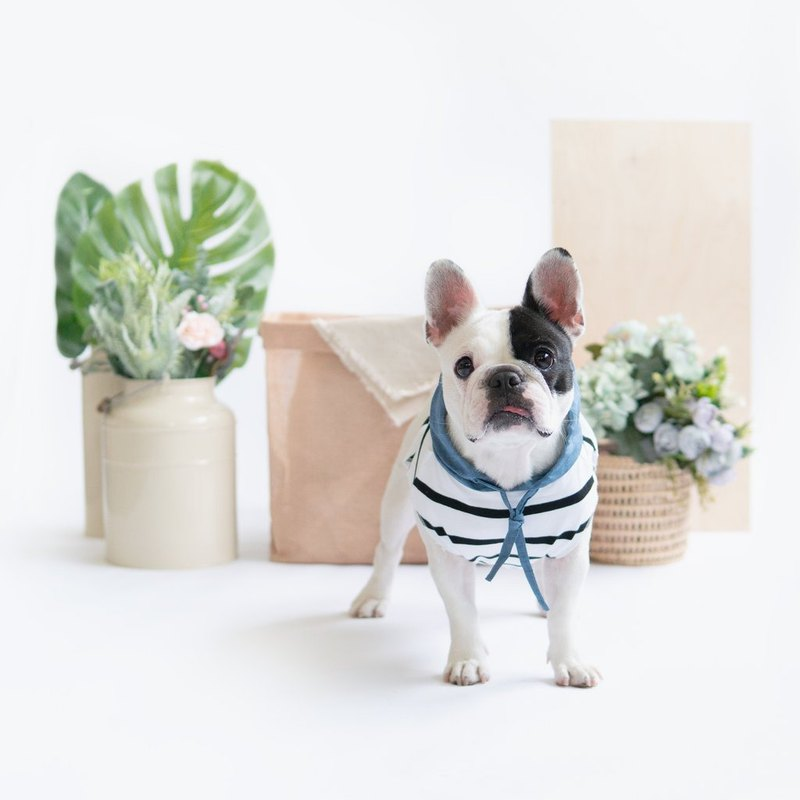 Blue Linen Striped Hoodie | For Dogs