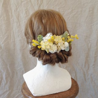 Mimosa and pastel yellow hydrangea head dress