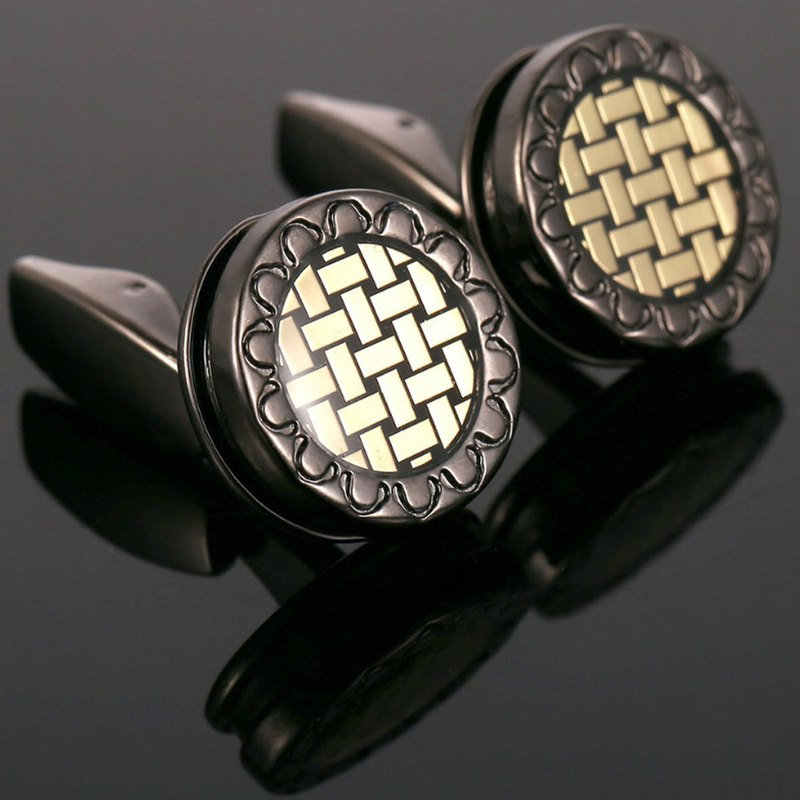 Kings Collection Round British Style Woven Cufflinks KC10107 Black