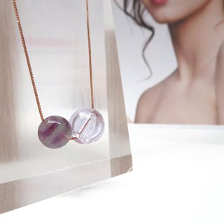 Fluorite December Birthstone Diffuser Necklace Rose Gold S925