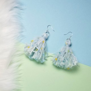 Mixed knit fringes earring (Baby blue/White/Mesh/Color Neps)