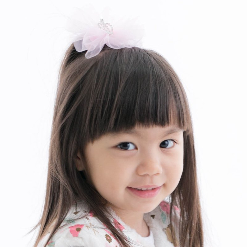 Cutie Bella Crown Chiffon Flower Hair Clips All Inclusive Handmade Hair Accessories Lace Crown Bow-Pinky