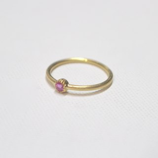 Pink tourmaline silver ring (gold color)
