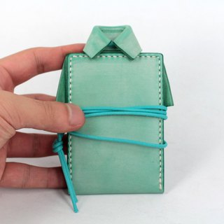 MOOS X WAESOME ORIGAMI Vegetable Tanned Leather Hand Sewing Document Set (Mint Green)